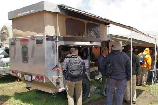 Large but aluminum and high-clearance, this pop-up trailer was eclectic and impressive.