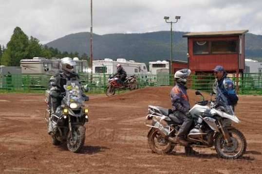 A motorcycle riding area in a rodeo oval. Not sure why. I'm sure there's a point.