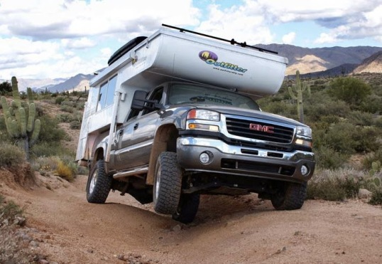 Straddling a deep groove to avoid tipping to the side is not always possible, and your average stock 4x4 is suddenly back to two-wheel drive. Aside from washboard, this twist is what helps kill truck campers.