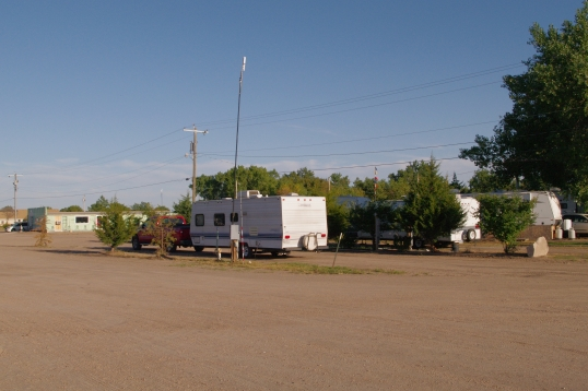 No much for picturesque, but the WiFi signal is awesome. That's the park's #3 antenna next to the trailer.