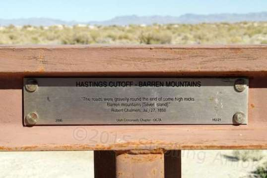A plaque put up to note the loop's intersection with the infamous Hastings Cutoff.