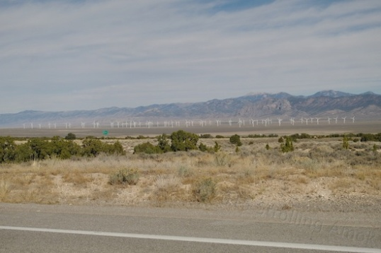 The biggest single field of wind generators I've seen to date. Considering their size, I might be five miles away?