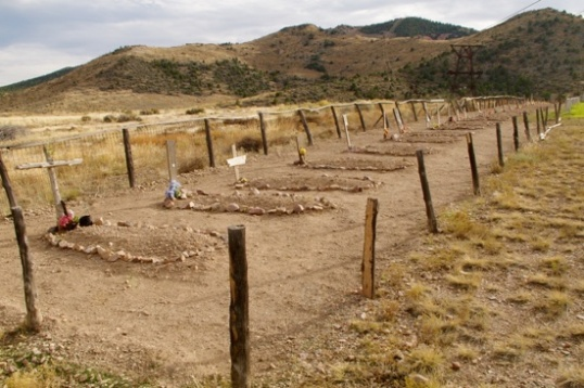 Boot Hill includes a row of souls murdered in 1870. Those apprehended are allegedly scattered about elsewhere in unmarked graves.