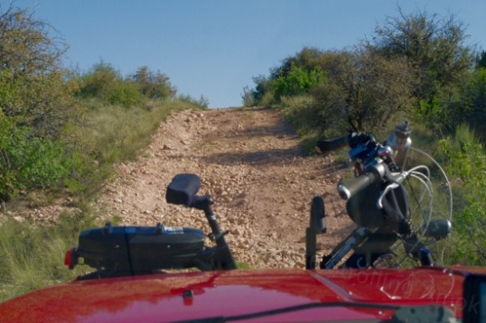 The climb is not that bad, but is loose enough that an empty 2WD pickup would never make it.