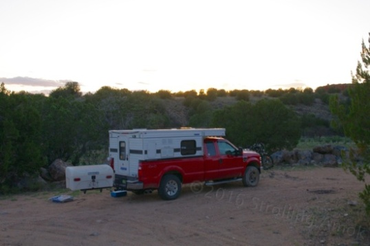Impromptu camp at a trailhead and the end of a day's labor.