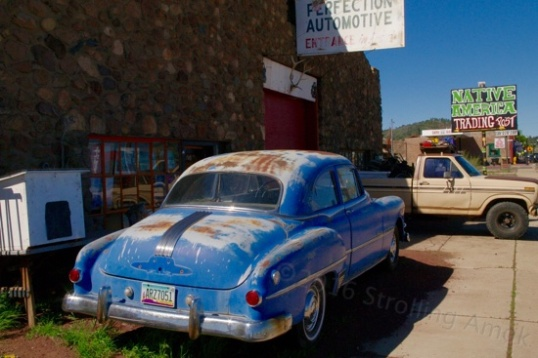 Next door was a sort of Native trading post with an old Pontiac for sale out front.
