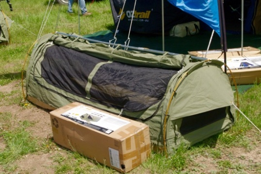 "This OzTrail ""Swag"" or mini-tent caught my eye in the Kadaku Camping booth."