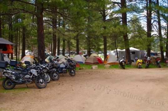 During my break for lunch I couldn't help but notice this tent area of the RV park filled with motorcyclists. Researching a good tent, sleeping bag or pad should probably start here.