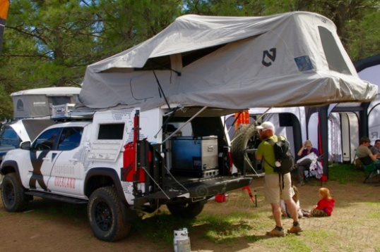 This is the same rooftop tent I saw installed at its maker, Adventure Trailer.