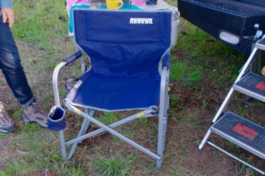 One of the many camper customers packed into the Four Wheel area showed me her favorite folding chair in the world, a rocking chair that is in fact comfortable and stable. It collapses sideways.