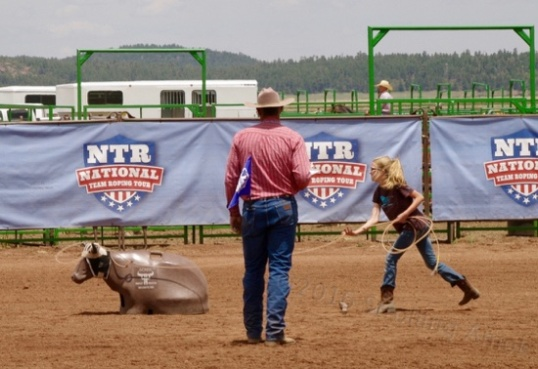 In general, the many girls in the contest didn't do well, but did enjoy trying. It didn't seem like lack of ability so much as not being willing to put spare time calf roping skill development high on one's list of life priorities, and that's hard to argue against.