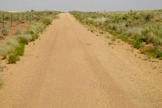Yep, this is Route 66, but the pavement has been graveled over.