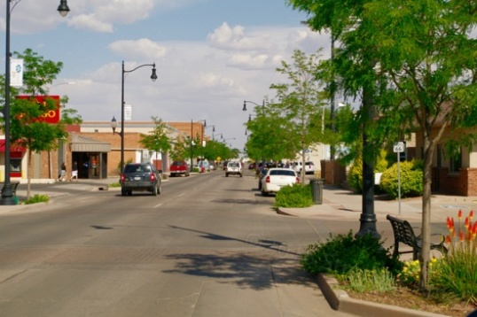 The eastbound half of 66 enters Winslow's downtown.