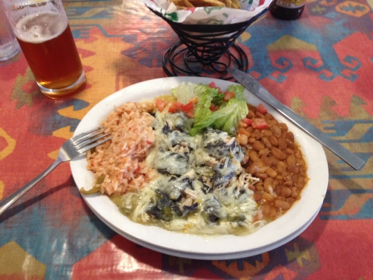 Then these enchiladas Santa Fe, which I got excited about and carved up before remembering to take a picture. I ate everything.