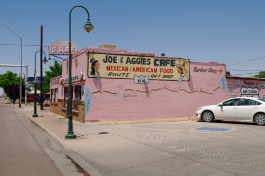 Also in Holbrook is Joe and Aggie's Cafe, a Route 66 survivor. The online reviews of this place range from glowing to spoiled brat. I expected what passes for a carefully-themed retro diner. What I got was a rather standard-issue cafe nearly unchanged from its initial opening. The decor is fake wood paneling, some Native American and some Mexican items on the walls. Family-run, it was friendly but rapid service, and my tuna salad on toast sandwich was just right.