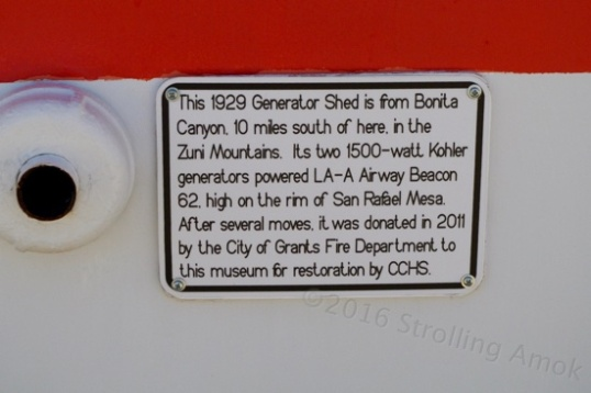 The sign for the generator shed. These beacons obviously helped make night flights safer.
