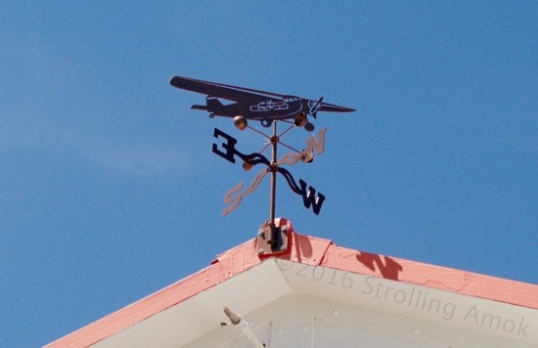 The weather vane atop the station.