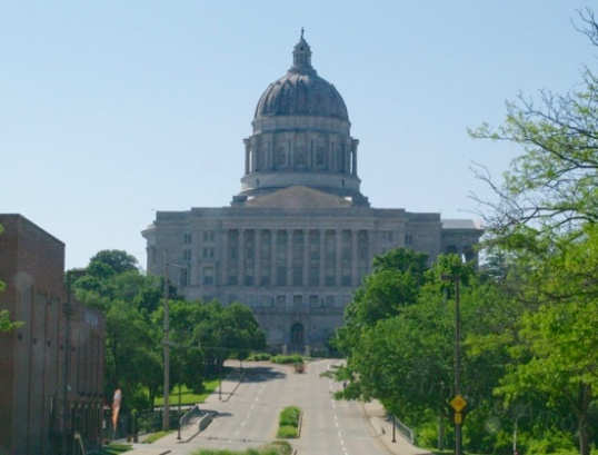 Jefferson City is the Capital of Missouri, and I was able to capture this shot through the windshield as I improvised getting back on US 54 despite two closed entrances, being a tourist against my will. This being a Saturday, the place and the streets were deserted.