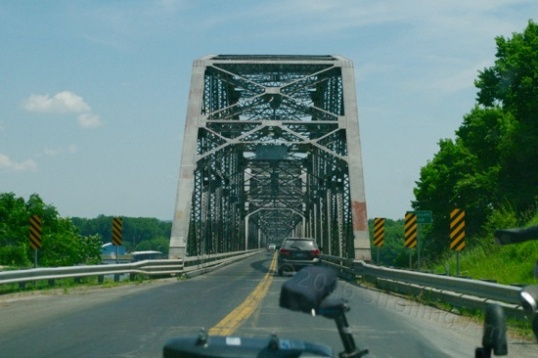 The old bridge crossing the Missouri River was narrow, but imposing.