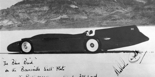 An autographed photo print from the 1935 run at Bonneville.