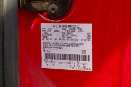 some basic ratings are generally found on the door sticker, including the loaded vehicle weight limit.