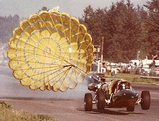 Popping the chute at 200 MPH provokes a momentary wheelstand.