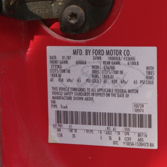 Here's the sticker for the Mighty Furd, with cold tire pressures noted as what should be used right up to the maximum loaded vehicle weight of 10,000 pounds. Your vehicle has a similar sticker.