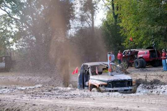 This is from an annual mud bogging event called Mudfest. This careworn 2WD Dodge pickup didn't make it through the trough of gumbo, but it wasn't from lack of trying!