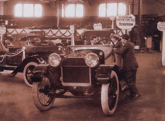 "A Henderson motor car at the Indianapolis Automobile Show in March of 1913. That ""new car smell"" was leather in those days, not plasticizers."